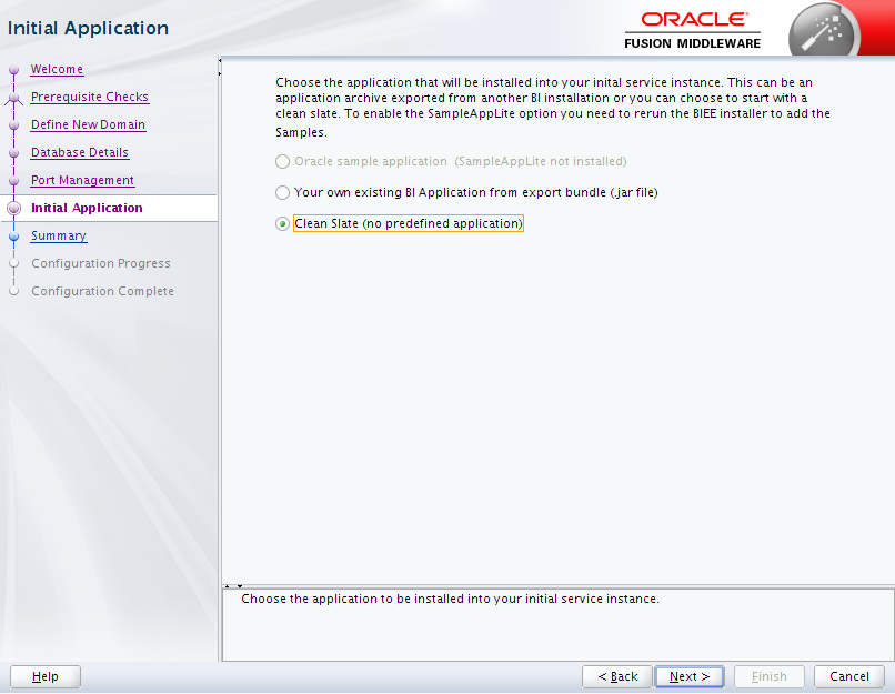 Oracle Business Intelligence 12c Enterprise Edition Configuration : initial application