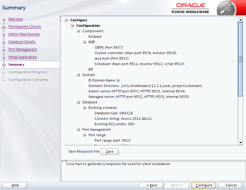 Oracle Business Intelligence 12c Enterprise Edition Configuration : summary