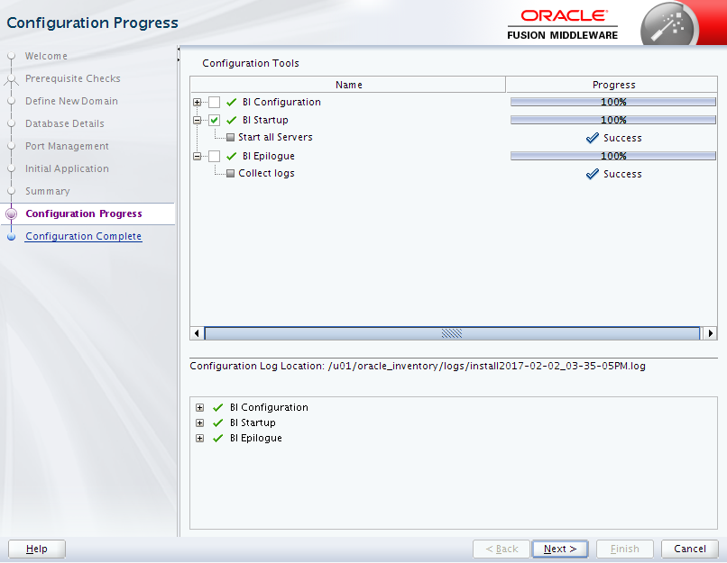 Oracle Business Intelligence 12c Enterprise Edition Configuration : progress