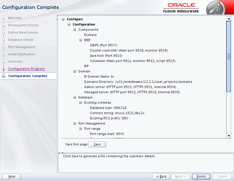 Oracle Business Intelligence 12c Enterprise Edition Configuration : complete