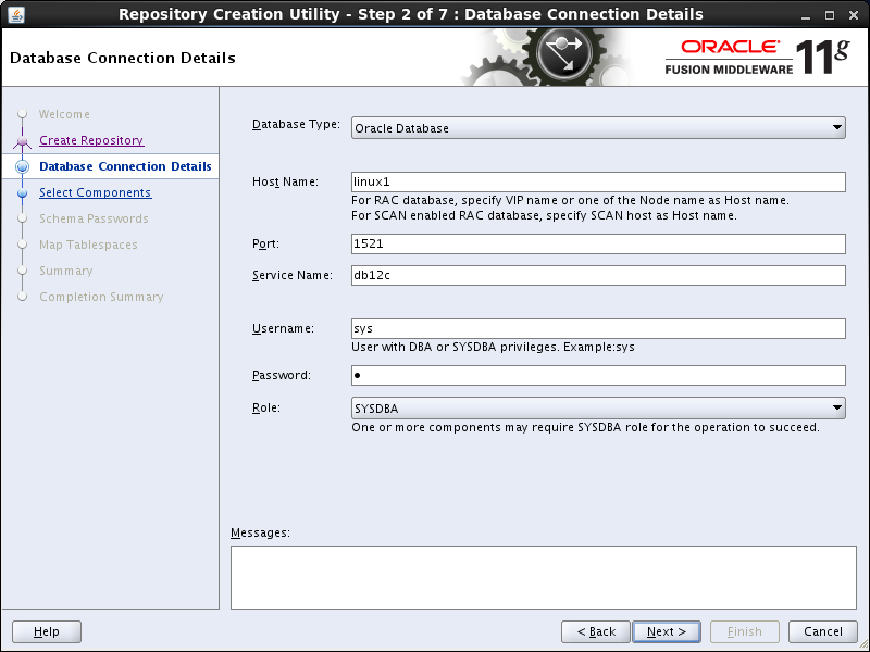 OBIEE 11g installation prerequisites: rcu database connection