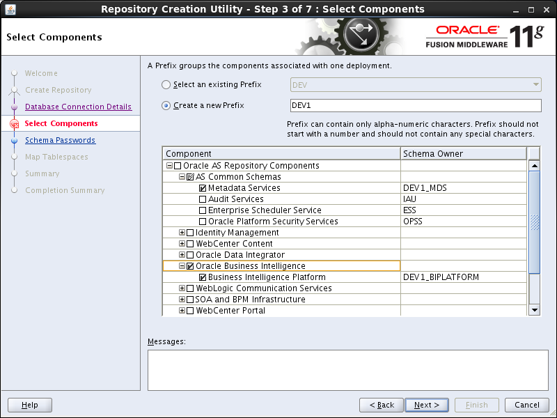 OBIEE 11g installation prerequisites: rcu select components