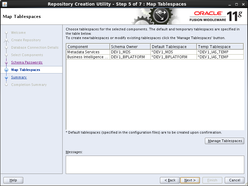 OBIEE 11g installation prerequisites: rcu map tablespace