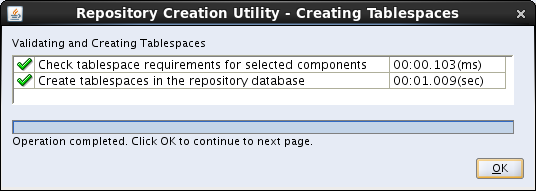 OBIEE 11g installation prerequisites: rcu map tablespace message 2