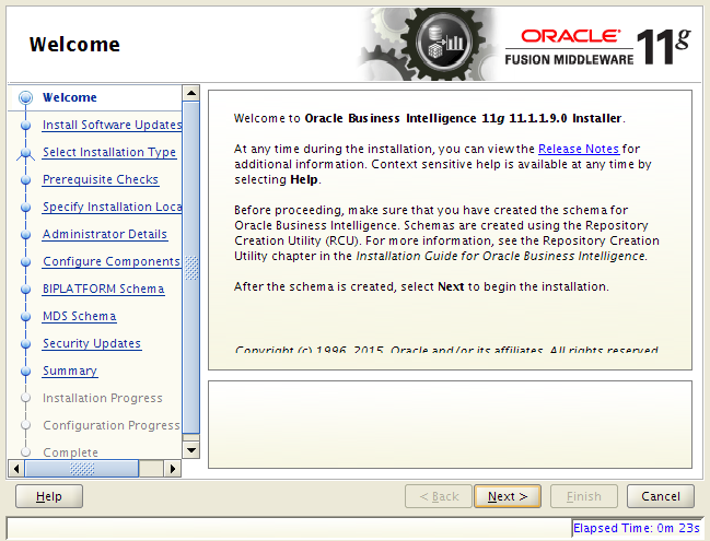 OBIEE 11g installation on Linux: welcome