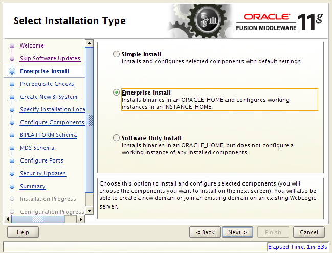 OBIEE 11g installation on Linux: installation type