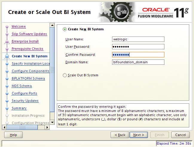 OBIEE 11g installation on Linux: create new bi system