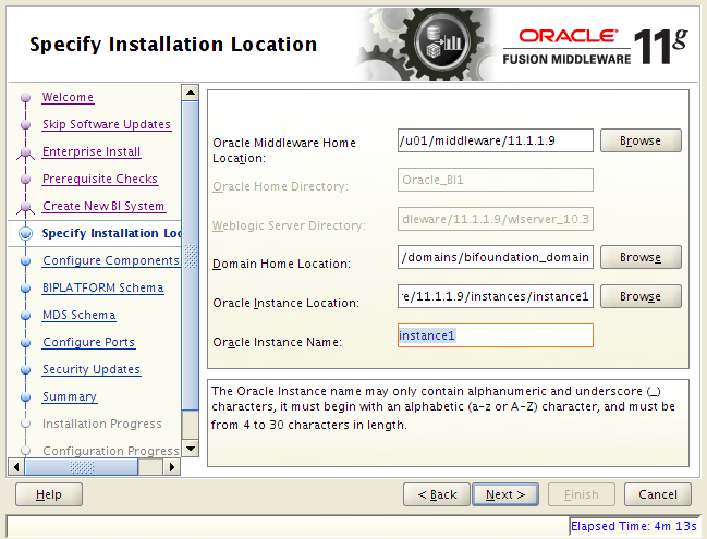 OBIEE 11g installation on Linux: location