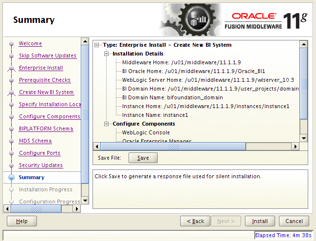 OBIEE 11g installation on Linux: summary