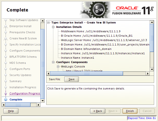 OBIEE 11g installation on Linux: complete