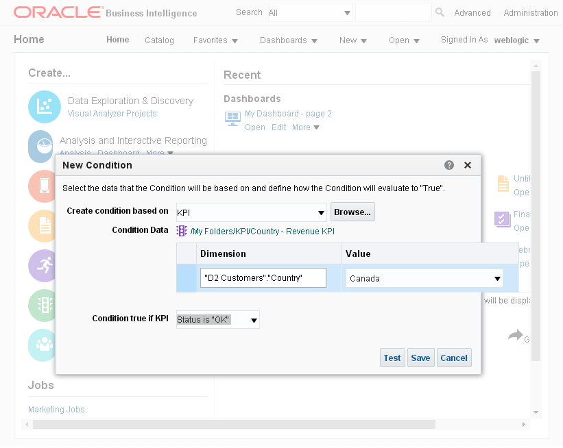 Create a Condition into Oracle BI Analytics: kpi condition