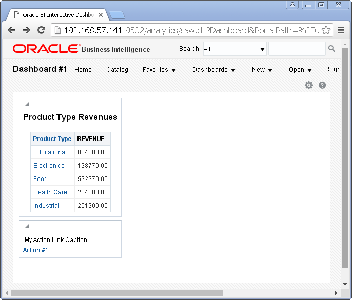 Add Content into an Oracle BI Dashboard :in page run/ test