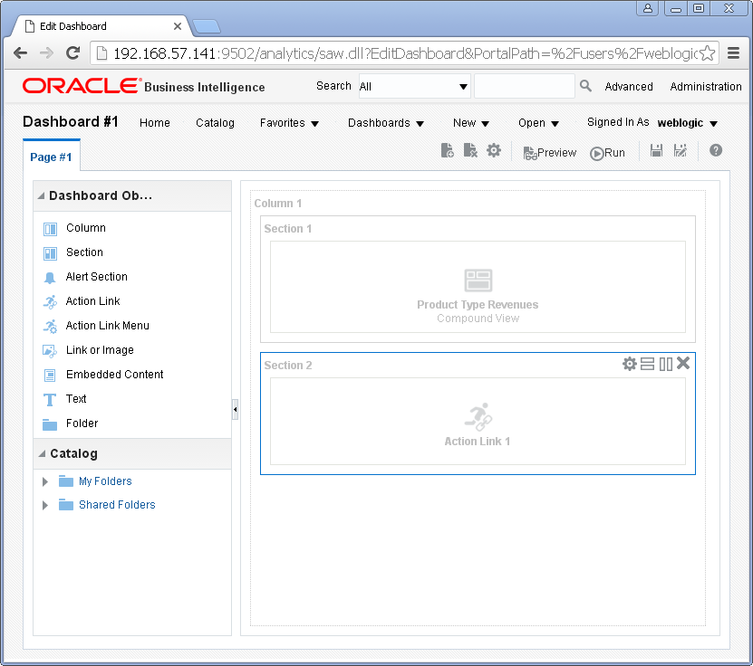 Add Content into an Oracle BI Dashboard : action link