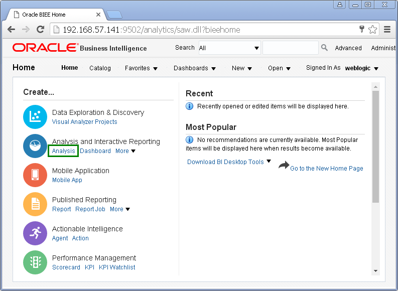 create Oracle BI Analysis/ obiee analysis under Oracle analytics : logged