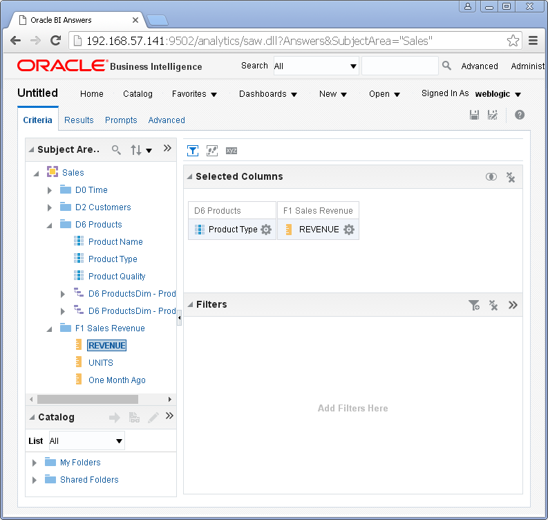 create Oracle BI Analysis/ obiee analysis under Oracle analytics : criteria