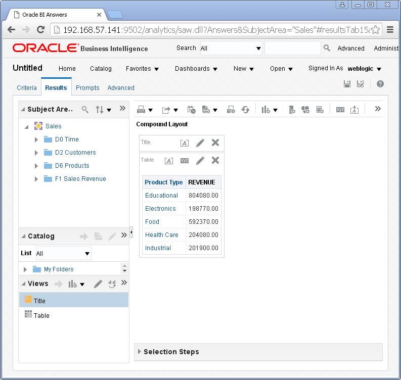 create Oracle BI Analysis/ obiee analysis under Oracle analytics : result