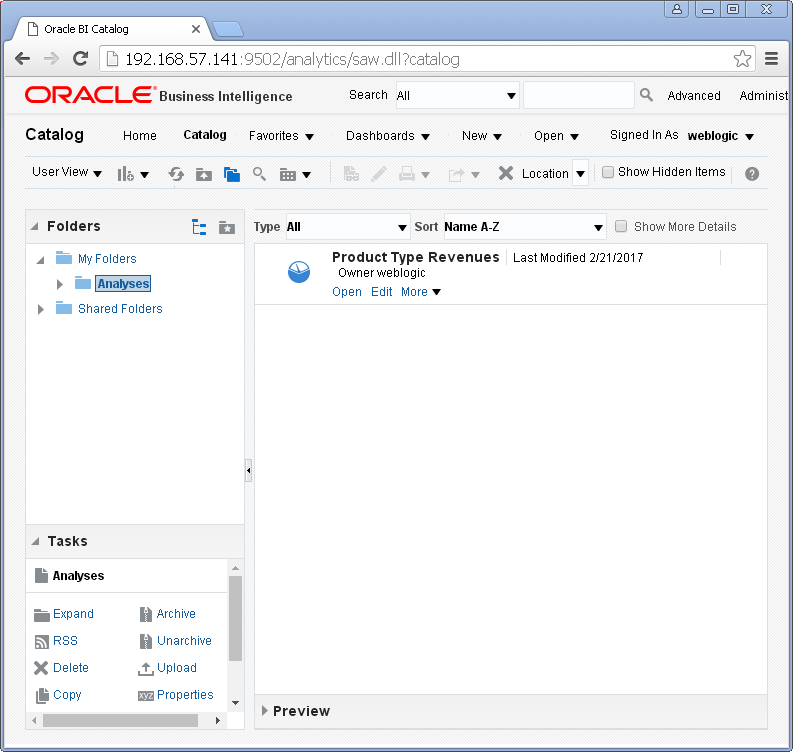 create Oracle BI Analysis/ obiee analysis under Oracle analytics : catalog