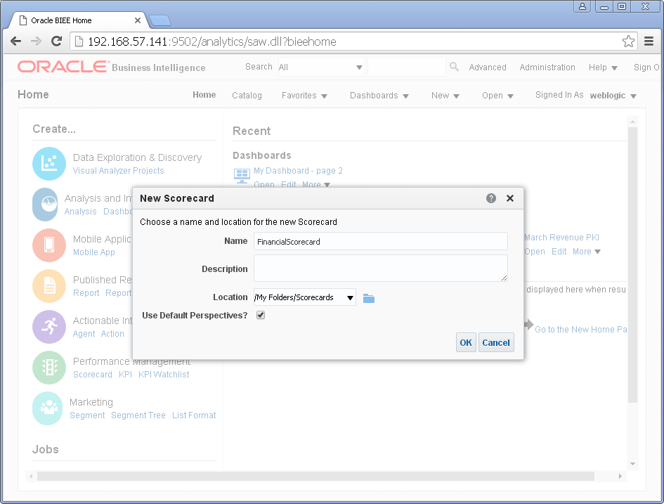 Create scorecard into Oracle BI Analytics : name
