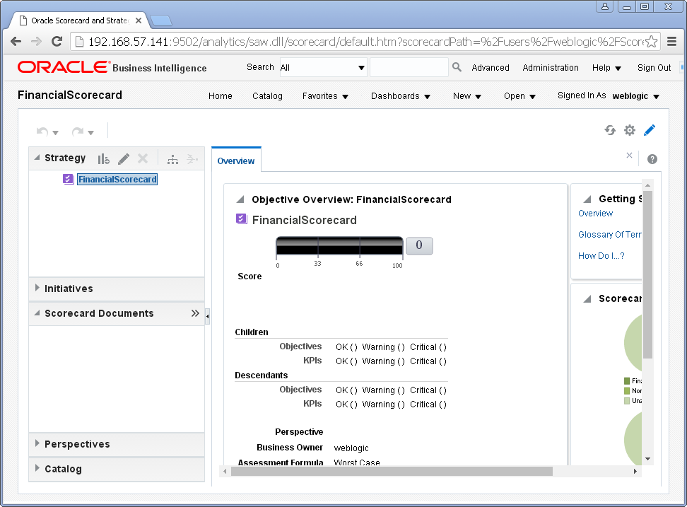 Create scorecard into Oracle BI Analytics : created