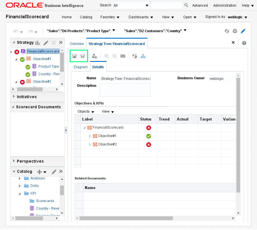 Create Strategy Tree for an Oracle BI Analytics Scorecard : strategy tree details