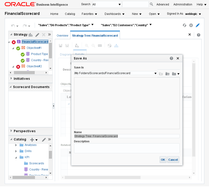 Create Strategy Tree for an Oracle BI Analytics Scorecard : save as