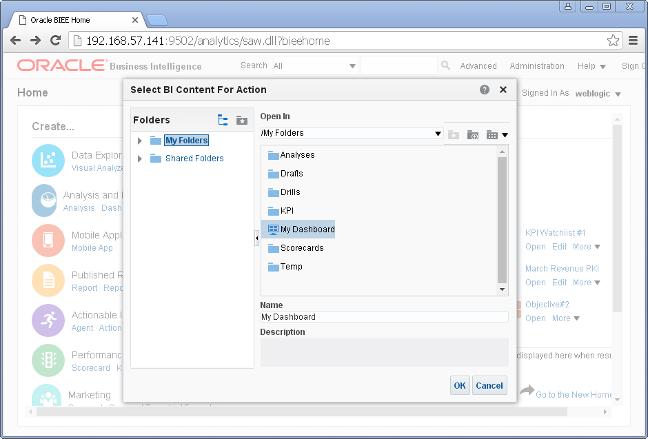 Create an Action into Oracle BI Analytics: content