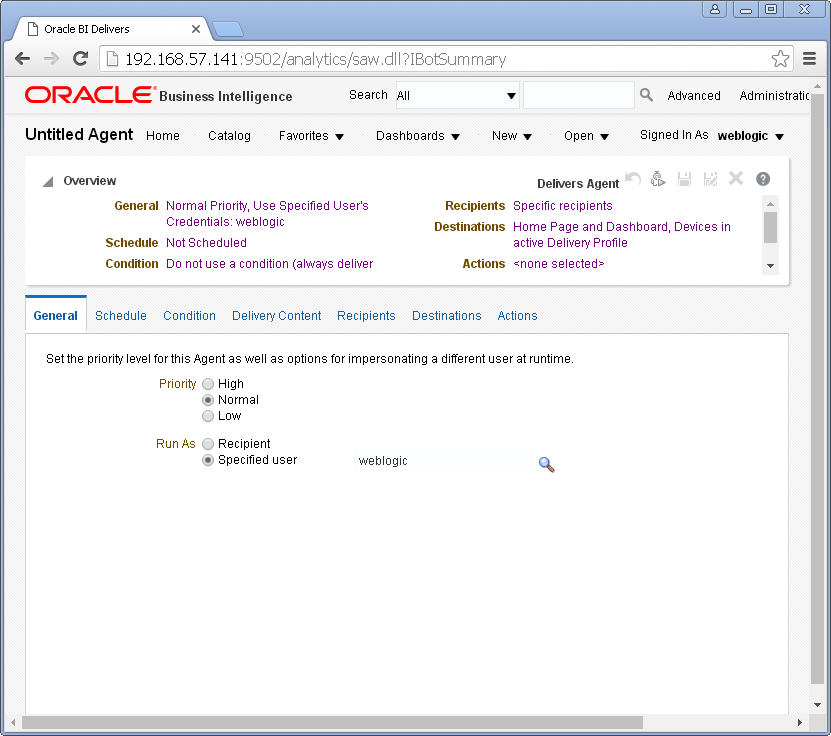 Create an Agent into Oracle BI Analytics: general