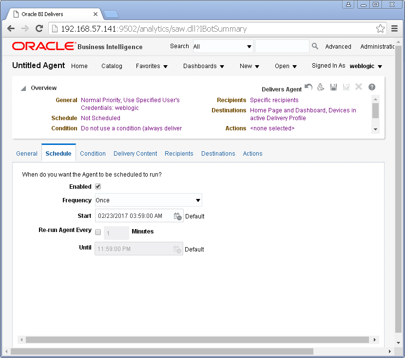 Create an Agent into Oracle BI Analytics: schedule