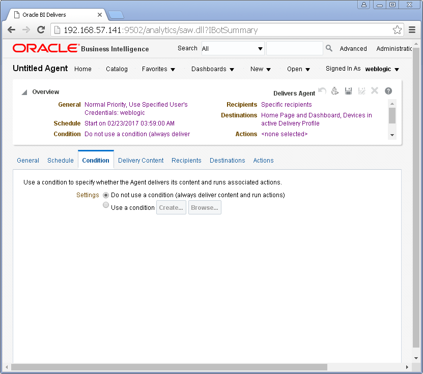 Create an Agent into Oracle BI Analytics: condition