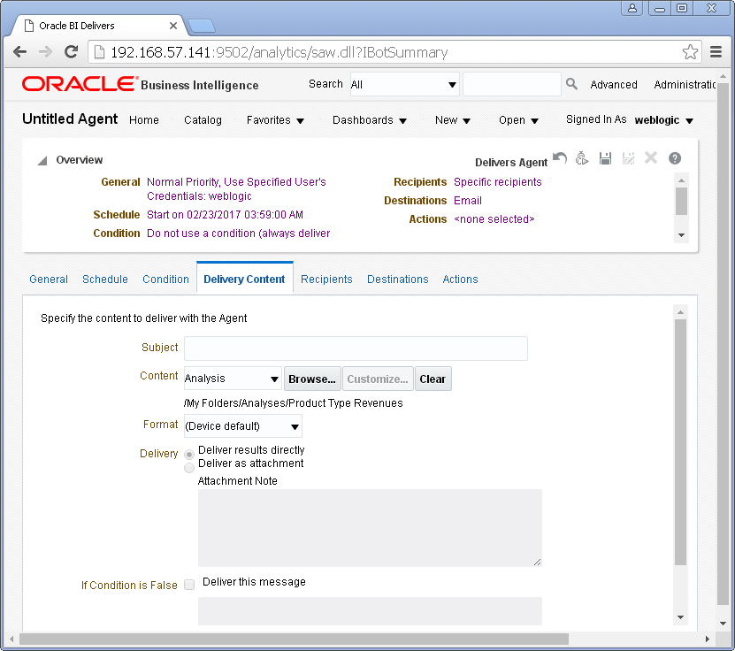 Create an Agent into Oracle BI Analytics: delivery content
