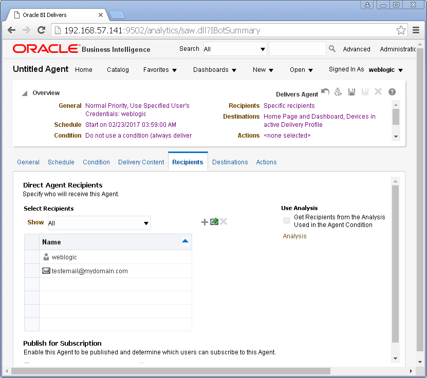 Create an Agent into Oracle BI Analytics: recipients