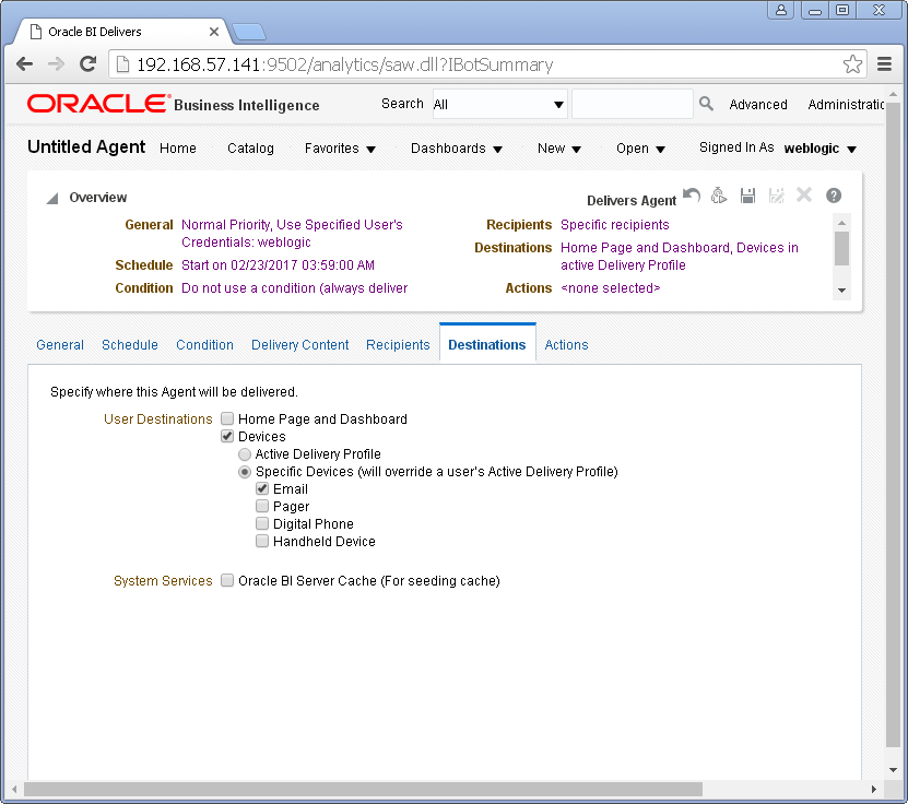 Create an Agent into Oracle BI Analytics: destinations