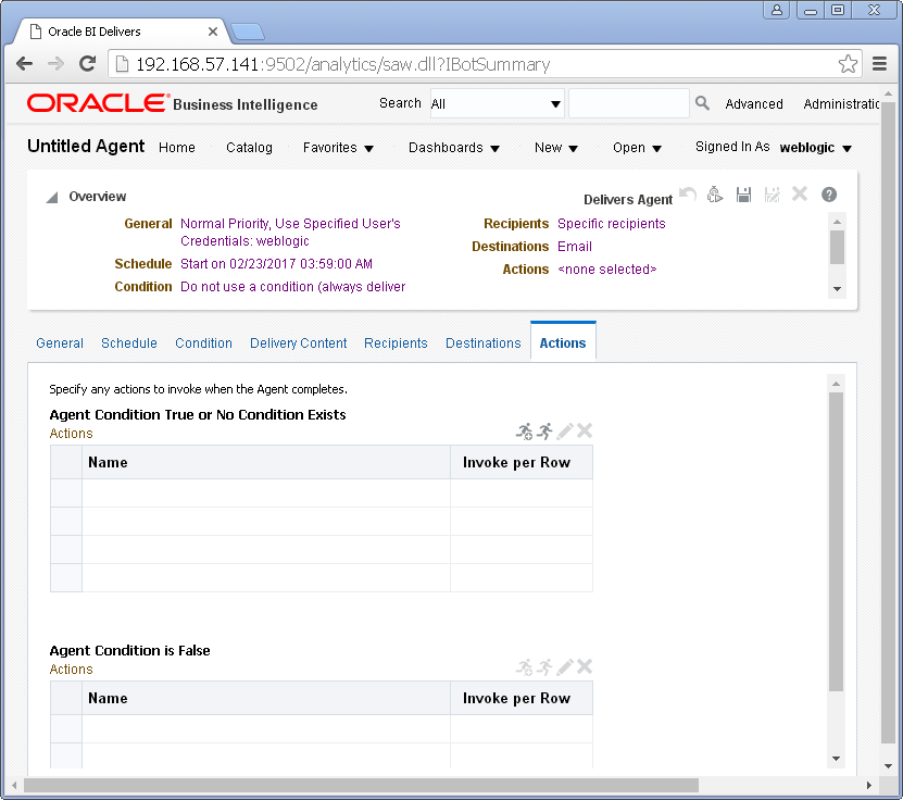 Create an Agent into Oracle BI Analytics: actions