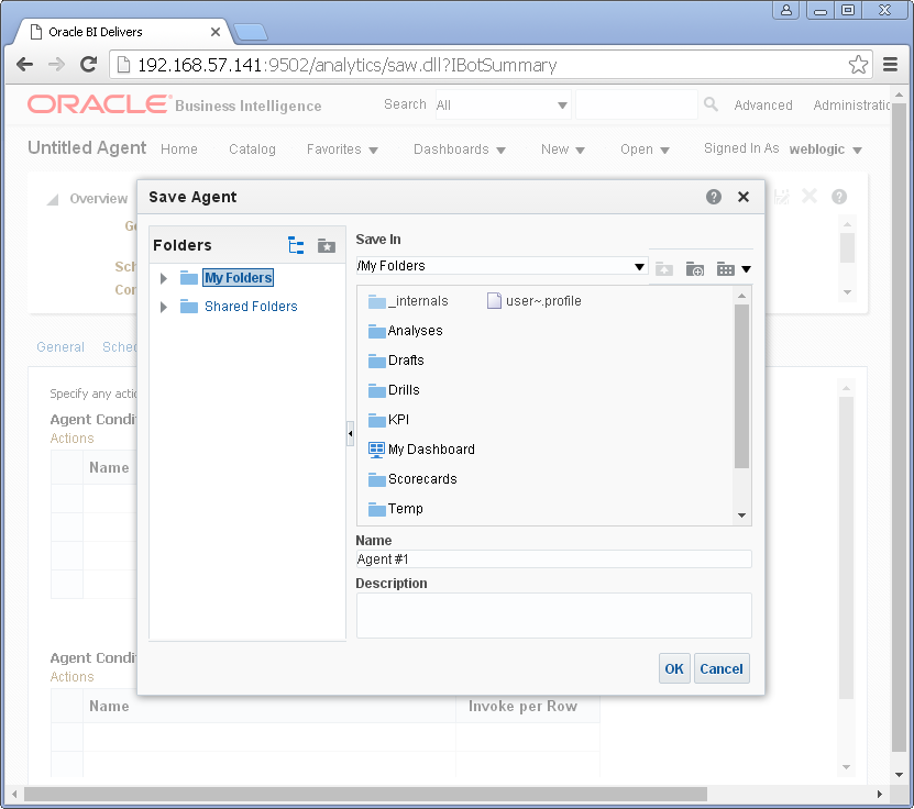 Create an Agent into Oracle BI Analytics: save