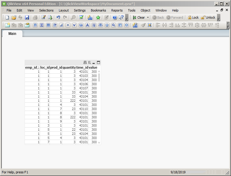 What is a Table Box in QlikView: table box displayed