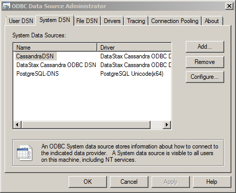 import data from Cassandra database into QlikView: data source name