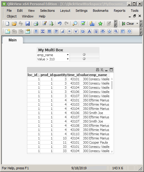 QlikView filering with Multi Boxes: multibox