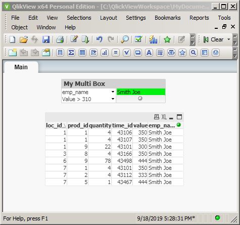 QlikView filering with Multi Boxes: one filter