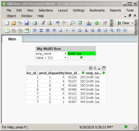 QlikView filering with Multi Boxes: second filter