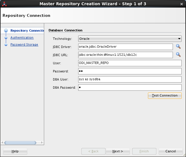 Create ODI Master Repository - ODI Studio 12c: database connection