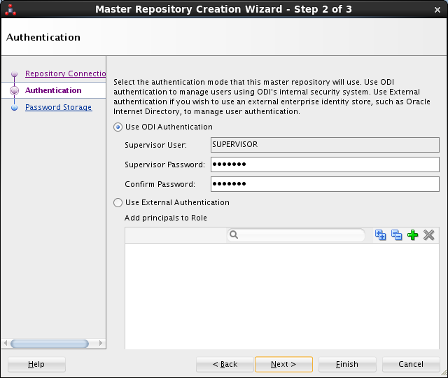 Create ODI Master Repository - ODI Studio 12c: create supervisor user