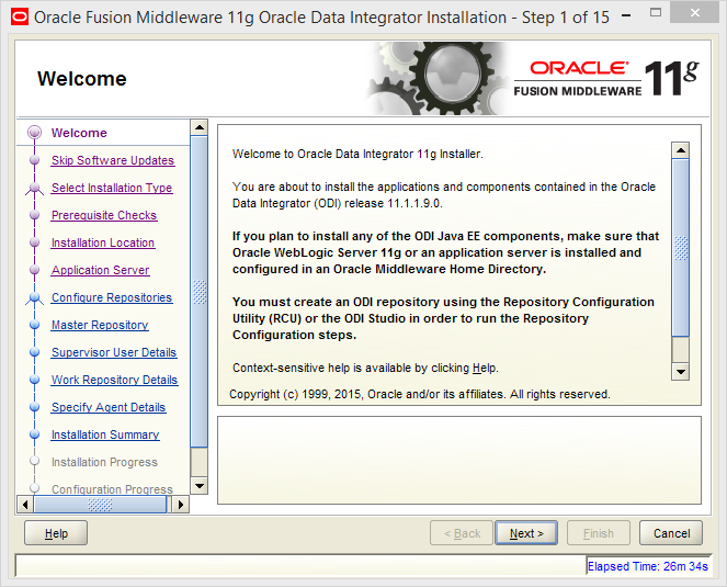 Install Oracle ODI 11g on Windows: welcome