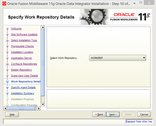 Install Oracle ODI 11g on Windows: work repository
