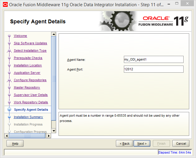Install Oracle ODI 11g on Windows: agent details