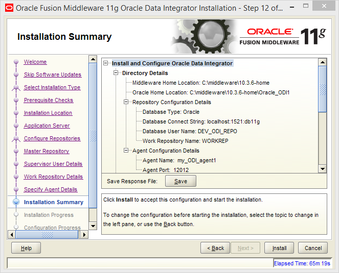 Install Oracle ODI 11g on Windows: summary