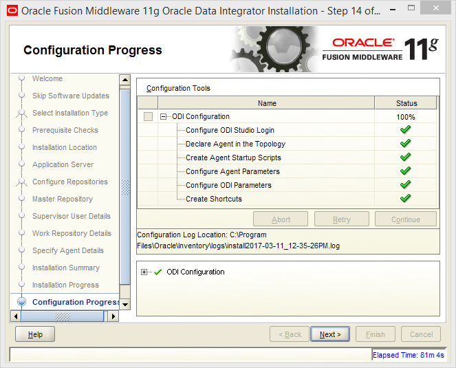 Install Oracle ODI 11g on Windows: progress