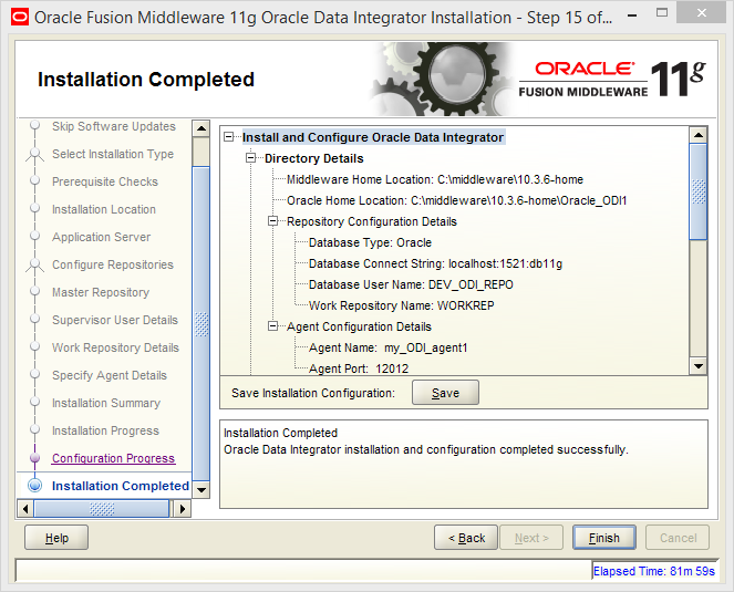 Install Oracle ODI 11g on Windows: completed