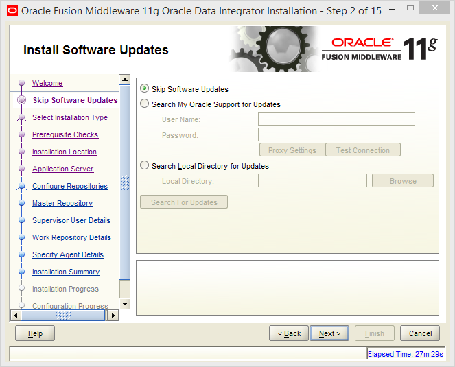 Install Oracle ODI 11g on Windows: software updates