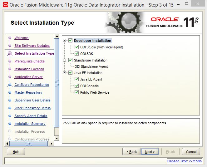 Install Oracle ODI 11g on Windows: installation type