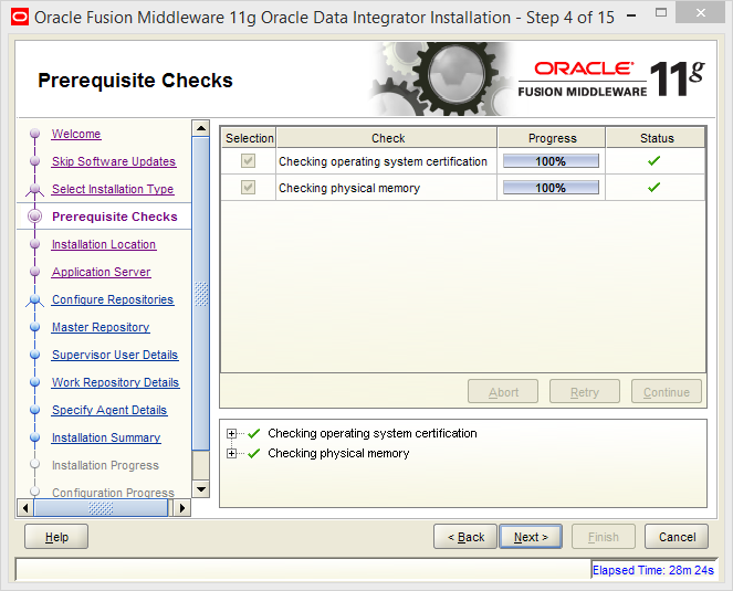 Install Oracle ODI 11g on Windows: prerequisites checks